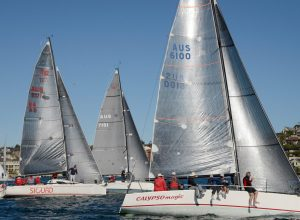 Combined Sydney Harbour Clubs Winter Series race, 21 July 2018 - Start of Super 30 Division